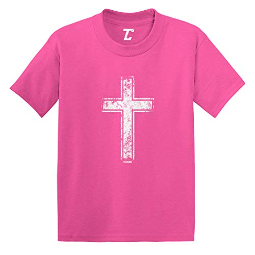 Distressed Cross - Jesus Catholic Infant/Toddler Cotton Jersey T-Shirt (Pink, 4T) (Religious Jerseys)