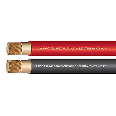 2 Gauge Premium Extra Flexible Welding Cable 600 VOLT COMBO PACK - BLACK+RED - 10 FEET OF EACH COLOR - EWCS Spec - Made in the USA!