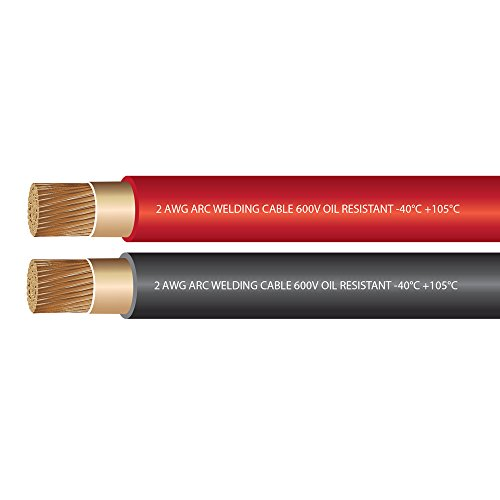 (2 Gauge Premium Extra Flexible Welding Cable 600 Volt Combo Pack - Black+Red - 10 Feet of Each Color - Made in The USA)
