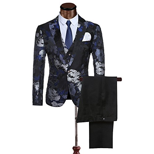 Cloudstyle Mens Fancy Notched Lapel Allover Floral Print Blazer suit 3-piece Set,XL