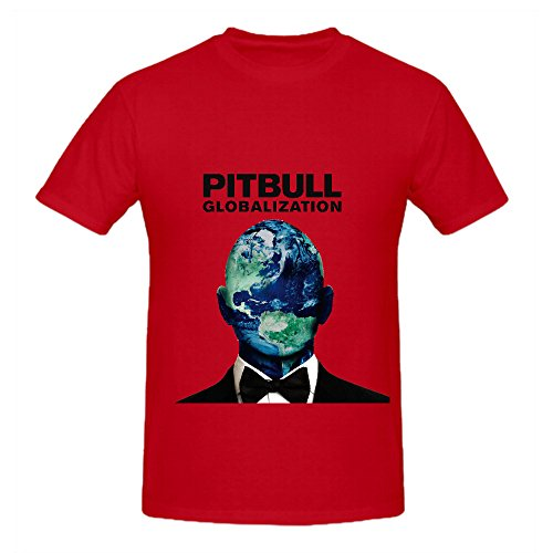 Pitbull Globalization 80s Album Cover Mens Crew Neck Customized Tee Shirts Red