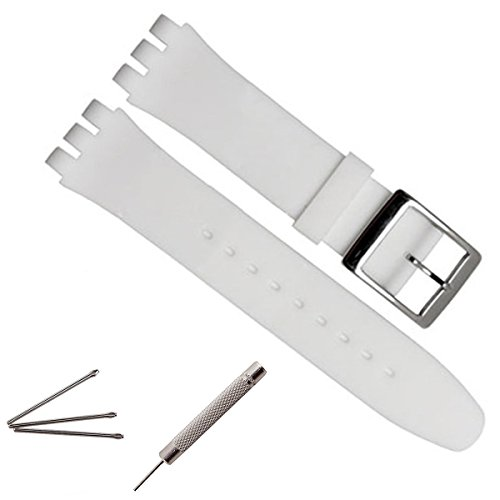 greenolive-19mm-replacement-waterproof-silicone-rubber-watch-strap-watch-band-white
