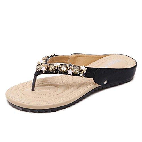Slippers Kyle Shoes Sandals Flops Rivet Pa Clip Slip Women Black Non Toe Flip Walsh Rhinestone Flat ppx1qOr