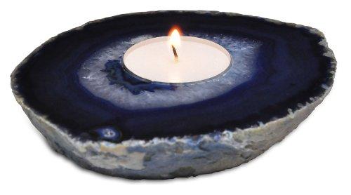 Agate Tea Light Candle Holder - Blue - Tea Lights Included! Fossil Gift Shop