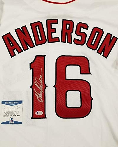Garret Anderson Autographed Signed Anaheim Angels Jersey 2002 Ws Champion With Beckett Authentic Memorabilia