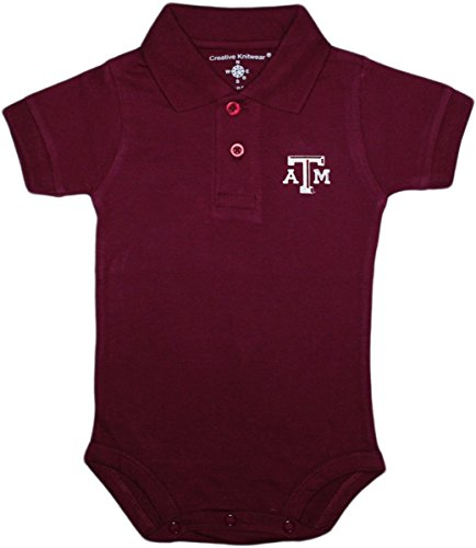 (Creative Knitwear Texas A&M University Aggies Newborn Polo Bodysuit,Maroon,3-6 Months)