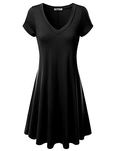 J.TOMSON Women's Short-sleeve V-neck Dress BLACK 3XL