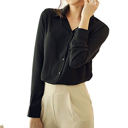 8804b983f09 Cekaso Women s Button Up Shirts Solid Collared Sheer Long Sleeve Chiffon  Blouse 50%OFF