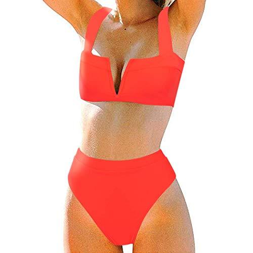 MOSHENGQI Women High Wasited Bikini Shoulder Strap 2 Piece High Cut String Swimsuits (Small, Red59) ()