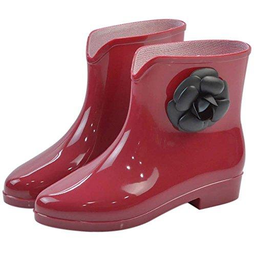 Fleur Rouge de EU Rouge Wellington Chaussures 36 Popoye Femme 5 Travail 0pWfTWnq