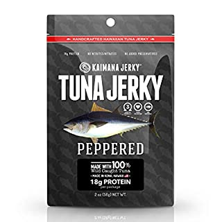 Kaimana Wild-Caught Ahi Tuna Jerky - Peppered   Rich in Omega-3s & High in Protein   All-Natural & Organic Fish Jerky (2 oz)