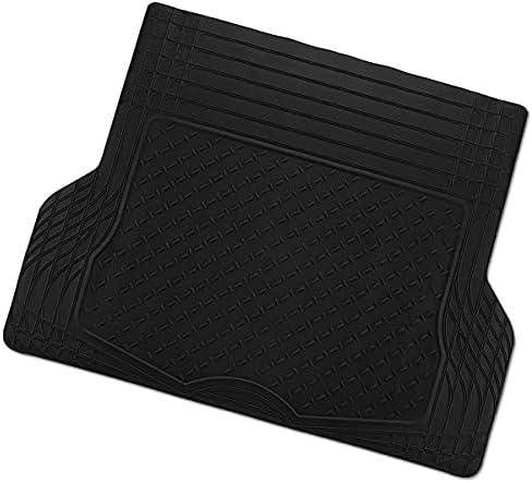 Zone Tech All Weather Rubber Semi Pattern Cargo Liner Trunk Floor Mat – Premium Quality Black Heavy Duty Cargo Trunk Floor Mat