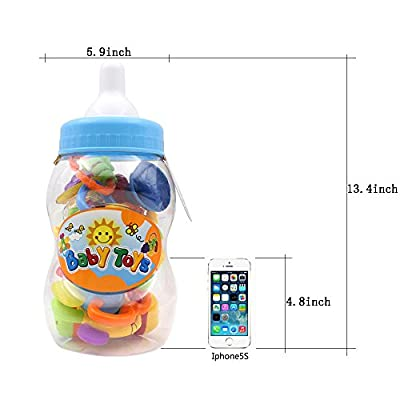 Infant Rattles Teethers Baby Toys - BPA Free Multi-Sensory Set Shake Grab with Bottle Storage for Hand Development Early Educational 3 6 9 12 18 Months Newborn Toddler 1 Years Old Boy Girl (9 Pack): Toys & Games