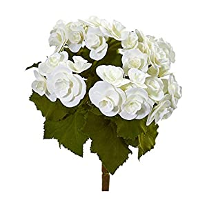 "Nearly Natural 2286-S4-WH 11"" Begonia Bush Artificial (Set of 4) Silk Flowers White 30"