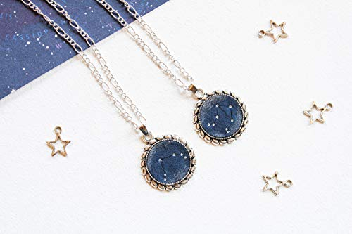 Custom celestial constellation pendant Night sky Stars Galaxy Space lover Dark blue silver round pendant Unisex gift for anyone Personalized zodiac sign necklace Astrology Astronomy Ursa minor