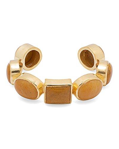 Voylla Women's Orange Stones Embellished Gold-Tone Cuff Bracelet by Voylla