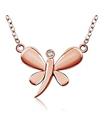 """J.Rosee 18K Rose Gold Plated Sterling Silver Dragonfly Summer Clavicle Collor Necklace with Extender, 18"""""""