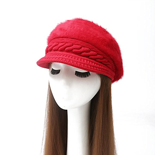 Aland Women Fashion Faux Rabbit Fur Knitted Hat Outdoor Winter Thicken Warm Beret Red One Size