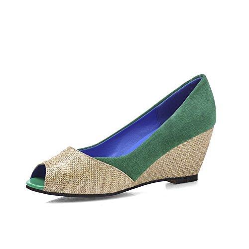 Amoonyfashion Womens Peep Toe Gattini Tacchi Smerigliati Assortiti Color Pull Su Sandali Verdi
