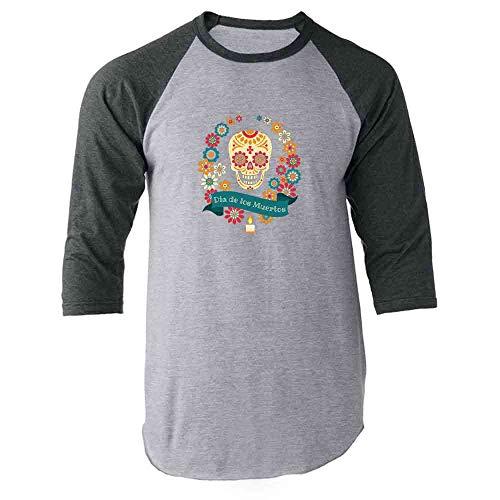 Dia de Los Muertos Sugar Skull Halloween Horror Gray M Raglan Baseball Tee -