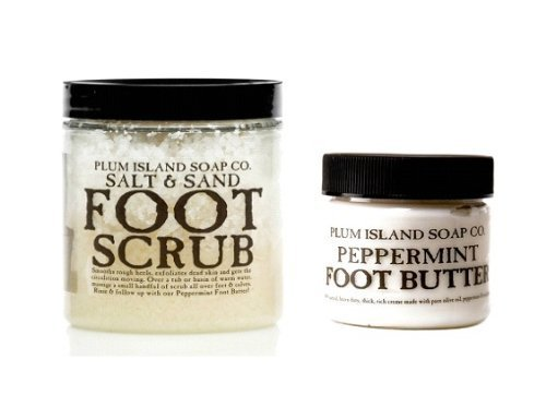 (All Natural Foot Care Kit - Salt & Sand Foot Scrub and Peppermint Foot Butter - Cruelty Free by Plum Island)