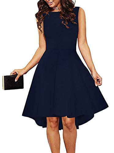 (ReoRia Women Sleeveless Boat Neck High Low Cocktail Skater Swing Dress Navy Blue Medium)