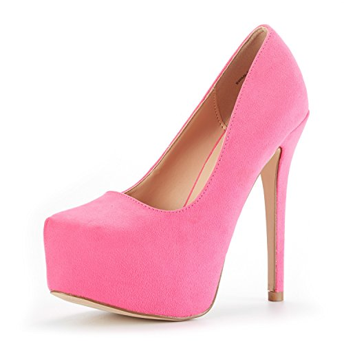 (DREAM PAIRS Women's Swan-30 Fuchsia Suede High Heel Plaform Dress Pump Shoes Size 8.5 M)