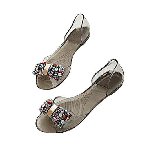 Chers Temps Femmes Bowknot Plage Gelée Chaussures Noir