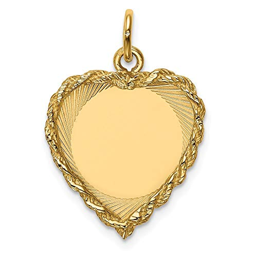 14k Yellow Gold .013 Gauge Engravable Heart Rope Disc Pendant Charm Necklace Framed Fine Jewelry Gifts For Women For Her -