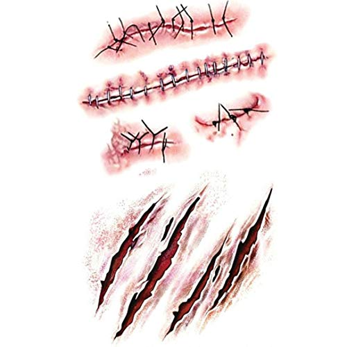 Halloween Tattoo Stickers, Anboo 10PC Wound Scab Blood