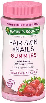 Nature's Bounty Optimal Solutions Hair, Skin & Nails With Biotin Strawberry Flavored - 80 Gummies, Pack of 5