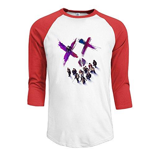 Men's Suicide Squad 100% Cotton 3/4 Sleeve Athletic Baseball Raglan Shirt Red US Size L