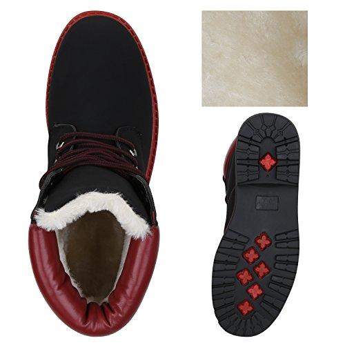 Stiefelparadies Damen Worker Boots Leicht Gefütterte Outdoor Stiefeletten Flandell Schwarz Rot