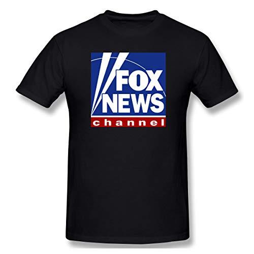 Fox News Channel Logo Black Men's Sleeve Classic Tee Fit Basic T-Shirts