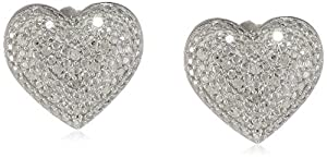 Sterling Silver Diamond Heart Shape Stud Earrings (0.25 cttw, H-I Color, I1-I2 Clarity) by Max Color, LLC