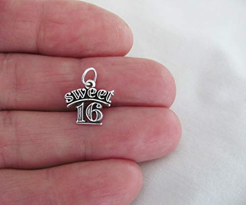 Sterling Silver Sweet 16 Charm Sixteenth Birthday DIY Jewelry Making Supply for Charm Pendant Bracelet by Charm Crazy