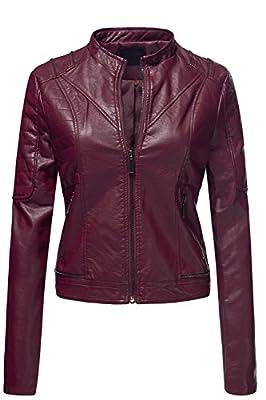 Luna Flower Women's Pu Quilted Moto Biker Faux Leather Jackets