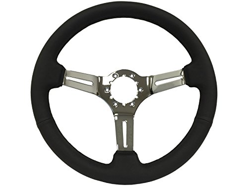 1963 -1982 GM Chevy Corvette, Black Leather Steering Wheel with a Chrome Center, also fits Camaro, El Camino, Chevelle, Impala, Nova, Pickup Truck with wood wheel option -