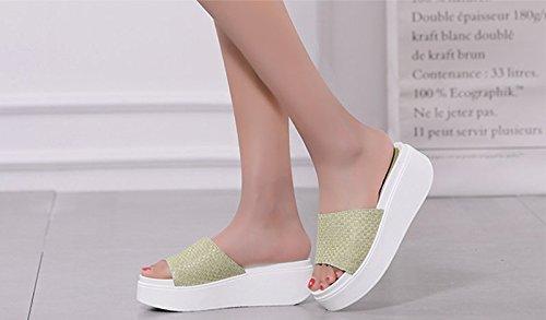 Sandalias AJUNR espesor Transpirable elegante 38 37 5cm de trenzado Verde zapatos mujer Moda zapatillas bizcochos de wFtFqT