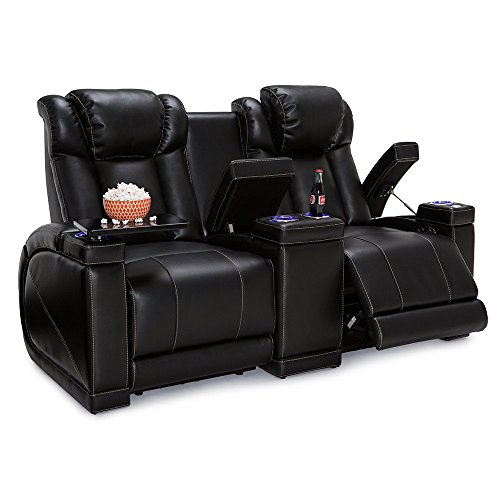 Seatcraft Sigma Home Theater Seating Loveseat Leather Gel Recline with Adjustable Powered Headrests, Center Console, Hidden in-Arm Storages, USB Charging, and Lighted Cup Holders, Black
