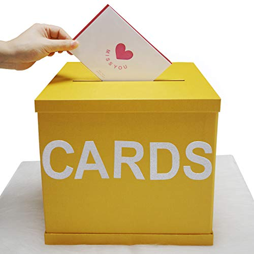 """Chilly Gold Gift Card Box with Shining Alphabet Stickers Cards, Large Size 10.2"""" x 10.2"""", Most Beautiful Greeting Cards Collection Box for Weddings, Birthdays, Graduations, Bridal or Baby Showers"""