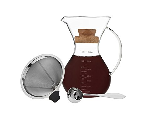 Godinger Pour Over Coffee Brewer - Beautiful Glass Carafe with Handle, Double-Layered Stainless Steel Cone Filter, and Cork Lid– Expertly Brew Delicious Pour-Over Coffee -