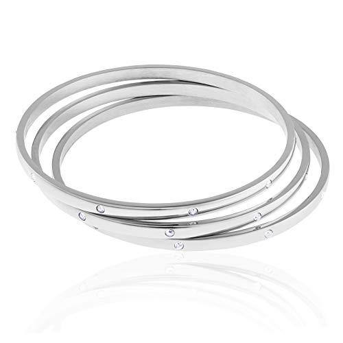 - Edforce Stainless Steel Women's Stackable Set of 3 CZ Cubic Zirconia Bangles Bracelets (Silver, 8