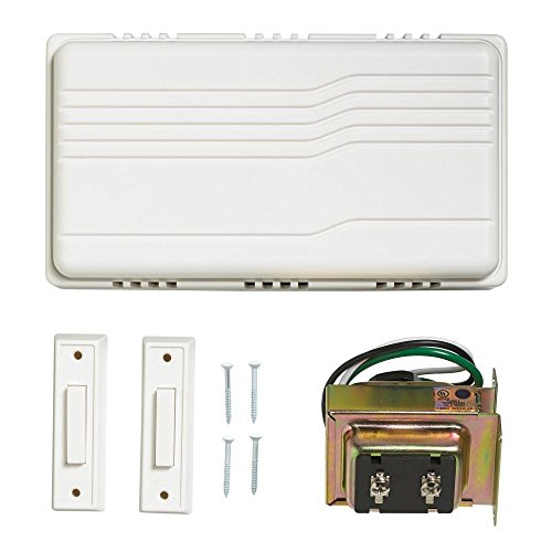 Doorbell Chime Kit - Atticus Electronics Door bell Contractor Kit, Hard Wired, 2 notes 75dB, Includes Two White Push Buttons (One lighted, one non-lit) and One UL Listed Transformer (Input 110VAC, Output: 16VAC, 10VA)