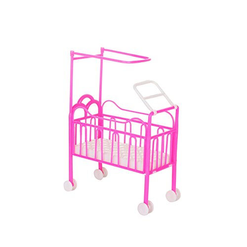 ZHOUBA Lovely Mini Furniture Pulley Baby Beds Crib Play House for Babie...