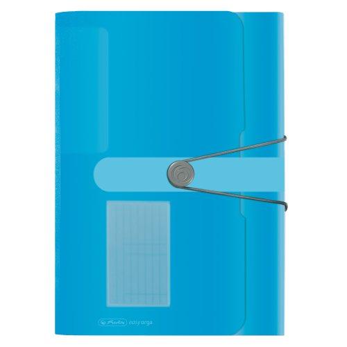 Herlitz 11277944 Fächermappe, Polypropylen-Folie, mit 12 dehnbaren Fächern, transprant blau