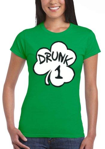 Womens Drunk 1 Irish Green Costume Funny Junior T-Shirt Tee, Large (Drunk 1 Costume Tshirt)
