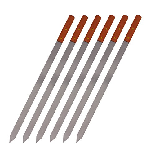 Premium Stainless Steel Wooden Handle BBQ Skewers for Shish Kebab, Turkish Grills & Koubideh, Brazilian-style BBQ, 23''x 1'', Set of 6 by Cheftor (Image #1)