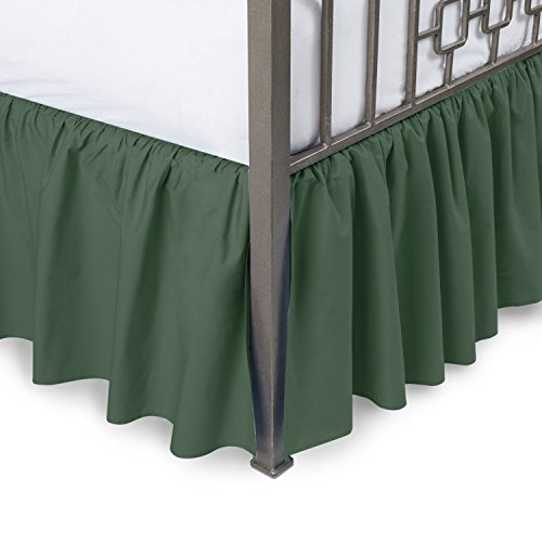 Hunter Ruffled Bedskirt - Harmony Lane Ruffled Bed Skirt with Split Corners - King, Hunter, 21 Inch Drop Bedskirt (Available in All Sizes and 16 Colors)