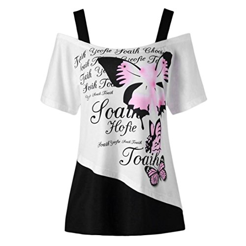 TOPUNDER Women Butterfly Printing Off Shoulder Tops Shirt Short Sleeve Casual (Blouson Style Silk Top)